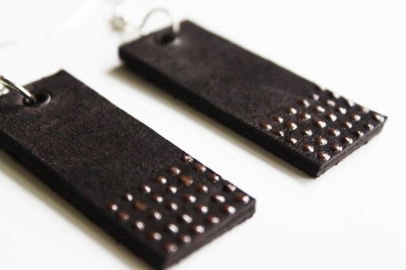 Dark Brown on Brown Leather Dangle Earrings by Cre8tivesoul
