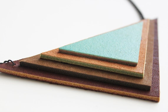 Brown Tan and Aqua Layered Triangle Leather Necklace by Cre8tivesoul