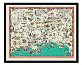 Map of Arkansas , Mississippi, Tennessee, Louisiana and Alabama - a retro and funny map poster  - 11 x 14""