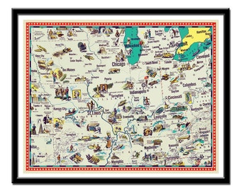 """Vintage  Iowa, Indiana, Illinois, Kentucky, Missouri  and Tennessee map - a retro and funny map - 11 x 14"""""""
