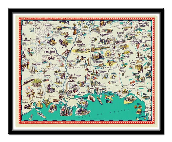 """Map of Arkansas , Mississippi, Tennessee, Louisiana and Alabama - a retro and funny map poster  - 11 x 14"""""""