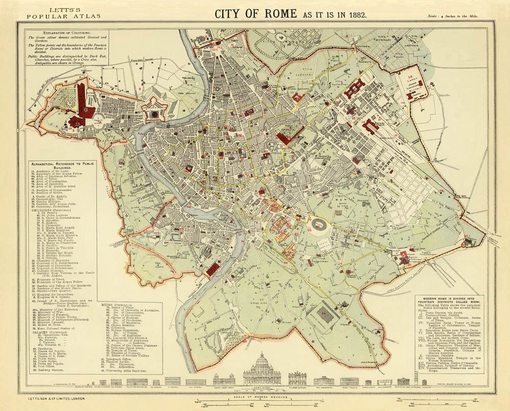 map of rome old map of rome print city maps prints. Black Bedroom Furniture Sets. Home Design Ideas