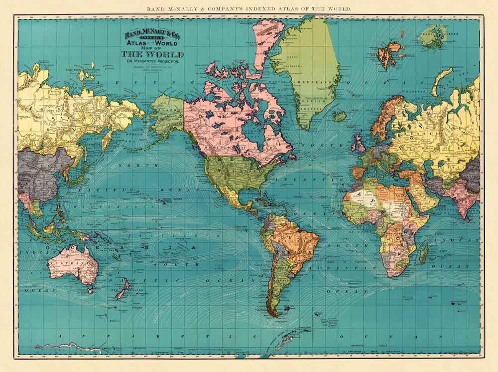 Vintage world map high resolution