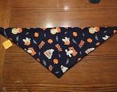Halloween Dog Bandana: Ghosts Pumpkins and Bats Pet Scarf - 1 Left