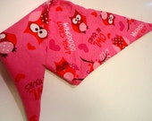 Valentine Dog Bandana: Owl Be Yours Pink Pet Scarf - XS Only