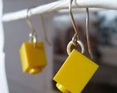 Little Yellow Earrings made of LEGO Bricks
