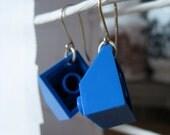 Blue Earrings made of LEGO Bricks