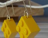 Yellow lego earrings