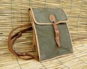 Vintage 1940's Military Officer Green Canvas Shoulder Strap Bag
