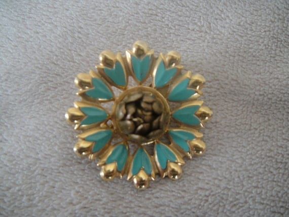 Vintage Pin Brooch in Golden and Turquoise Colors