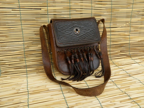 Vintage Lady's 1970's Brown Leather Bag With Fringes