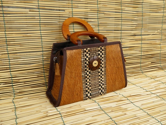 Vintage Lady's Coconut Shell Bag With Wooden Handles