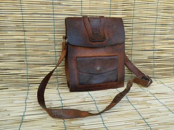 Vintage Lady's 1980's Distressed  Brown Leather Bag
