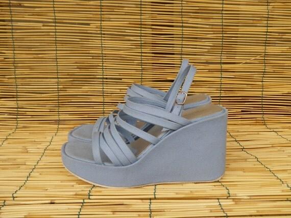 Vintage 1980's Lady's Light Blue Textile Platform Sandals Wedges Size: EUR 40 / US Woman 9 1/2