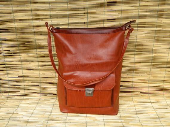 Vintage 1970's Big Brown Faux Leather Tote Bag Bag