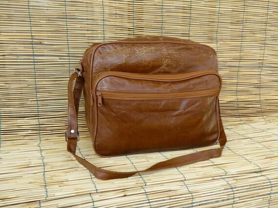 Vintage Distressed Brown Faux Leather Bag Shoulder Strap
