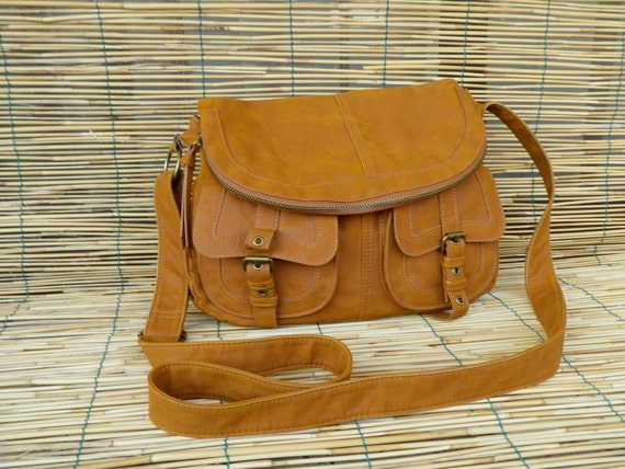 Vintage 1980's Amber Yellow Faux Leather Bag Purse with Shoulder Strap