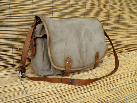 Vintage 1950's Washed Out Military Green Canvas Shoulder Strap Messenger Bag with Side Pockets
