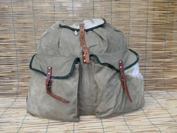 Vintage 1950's Military Washed Out Green Canvas Backpack With Leather Straps