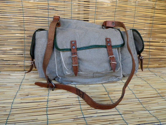 Vintage Late 1950's Military Distressed Washed Out Green Grey Canvas Shoulder Strap Bag