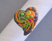 Adjustable Ring Heart Shaped Multicolored Dots and Lines Cabochon