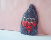 Pin Brooch Cottage Small House Handknitted Accessory Wool Fiber Art Jewelry