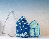 Blue House Pin Brooch Accessory Hand Knitted Wool Coat Badge Yarn Fiber Art  Pin Sweater Pin House Applique