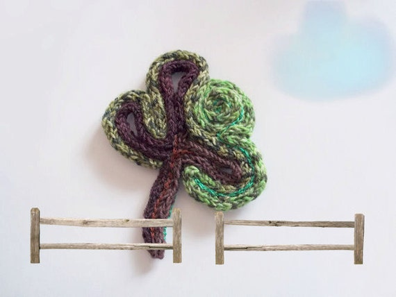 Green Olive Tree Pin Wool Brooch Hand Knitted Pin Brooch
