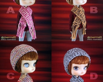 1 Hand knit hat and scarf set for: Dal head size dolls...