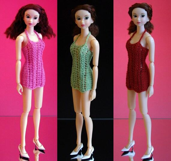 Pullip Blythe J doll Momoko 27 cm Obitsu doll size hand knitted lace dress