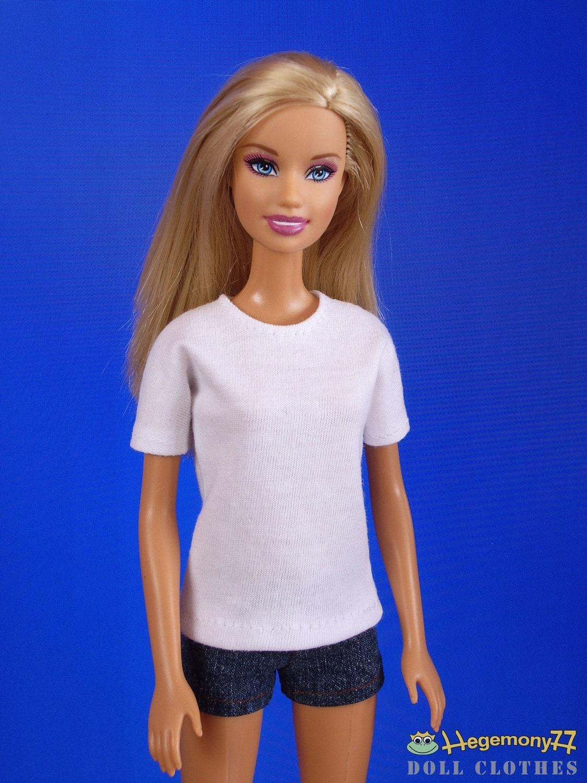 White Plain Blank T Shirt For Barbie Size Dolls