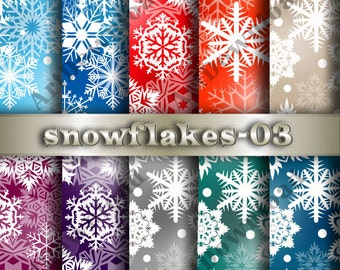 Instant Download - Snowflakes  Scrapbooking Paper,Printable Christmas Snowflakes