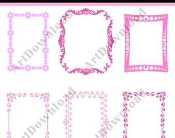 Instant Download - Pink  Digital Frames and Borders - Frame Digital Clip Art ,Printable Frames for Commercial And Personal Use
