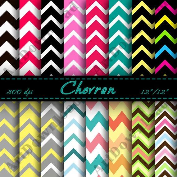 Chevron Digital Paper - Printable, Digital Downloads, Scrapbooking Paper, Cardmaking, Invitations