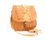 Vintage, Tan Brown Leather, Crocodile Satchel/Messenger Bag circa 1970s