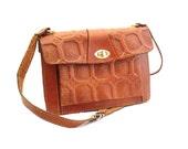 Vintage, Tan Brown Tooled Leather Satchel/Messenger/Cross Body Bag circa 1970s.