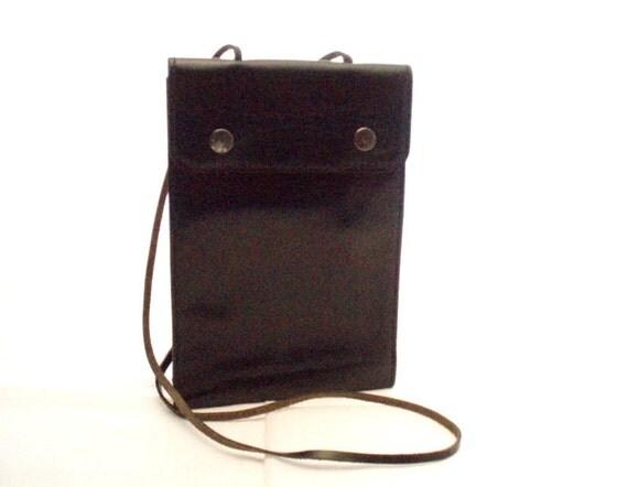 Vintage, Black Leather Wallet with removable shoulder strap