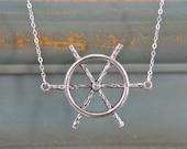 Swarovski Nautical Necklace-Sailor, Sea, Ship Wheel, Sterling Silver, Crystal, Helm,Ocean, Sea Jewelry, NSN-109, Ready to Ship