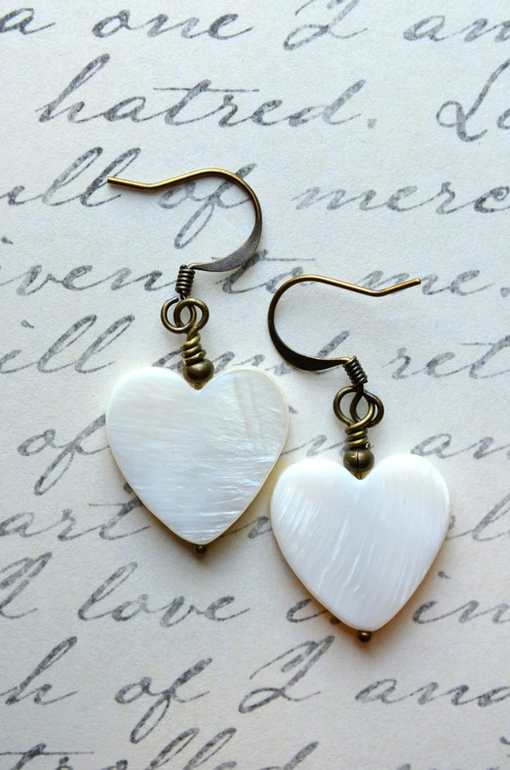 CLEARANCE- White Heart Shell Earrings - Simple, Antique Brass, Romantic, LOVE, Mother of Pearl, Valentines Day, WPH-340