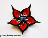 Red and black pvc cyber flower gothic industrial hair clip or brooch