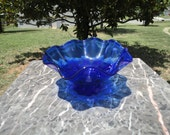 Vintage Blue Glass Candy Dish