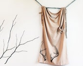 Antler Screenprinted Blouse // Size SMALL // Sleeveless, Light Espresso color