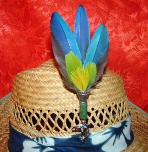 Macaw Parrot Feather Hat Clip Hair Clip