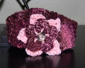 Girls Knit  Headband with Purple and Pink Flower