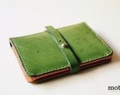 motto - Green Leather Traveler Purse / passport cover / passport holder ( Genuine leather & Handmade )