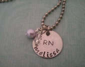 Hand Stamped Jewelry Registered Nurse Nurses Personalized With Name birthstone Special Nurse in your life RN necklace Nursing Student