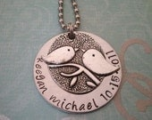 Personalized Mothers Necklace Hand Stamped Mommies Little Bird Great Gift for New Mom Will Hold 3 Names