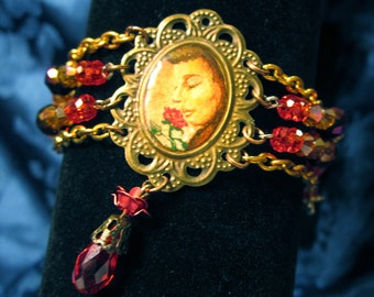 Hand Painted Fragrant Rose Cabochon Steampunk Inspired Bracelet