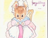 Birthday Card - Beatrix Potter style- watercolor