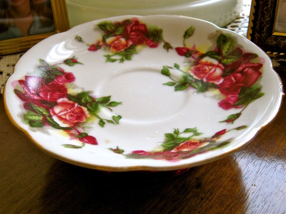 Vintage Rose Patterned Tea Cup Saucer Soap Dish or Jewelry Tray Upcycled
